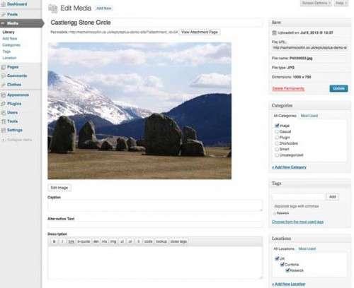 Присвоювання категорій, тегів і таксономії до завантажуваних файлів