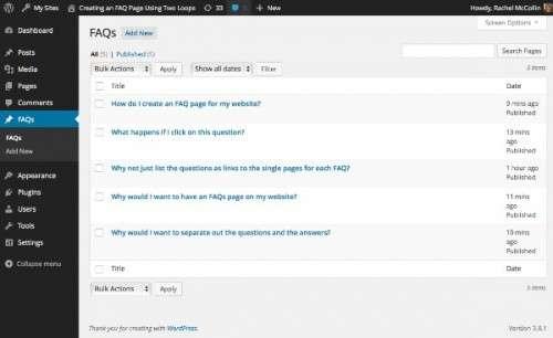 Як створити FAQ-сторінку, використовуючи два циклу WordPress