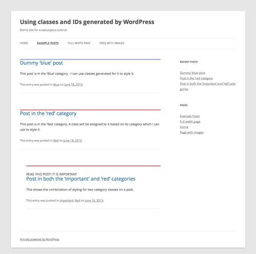 Робота з класами і ідентифікаторами, що генеруються WordPress