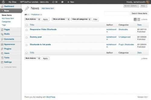 Настройка панелі адміністрування WordPress – списки обєктів