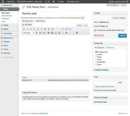 Налаштування адміністративної панелі WordPress: текстова довідка