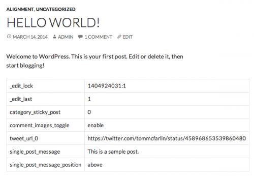Відображення метаданих в пості у WordPress