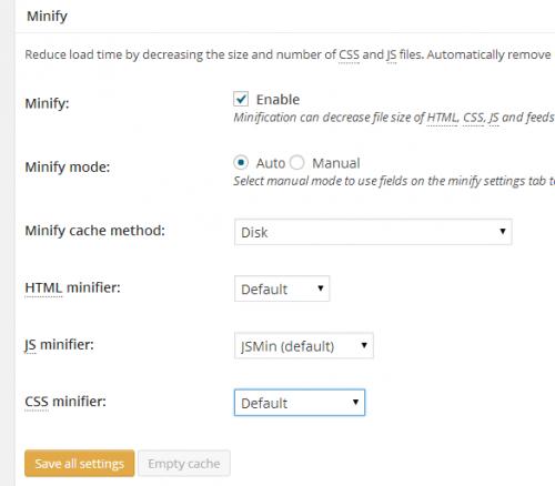 Налаштування W3 Total Cache - загальні установки