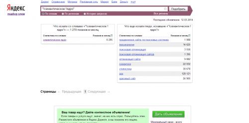Підбір ключових слів в Yandex.Wordstat