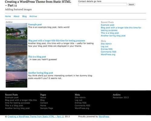Створюємо тему WordPress на базі статичного HTML: Додаємо характерні зображення